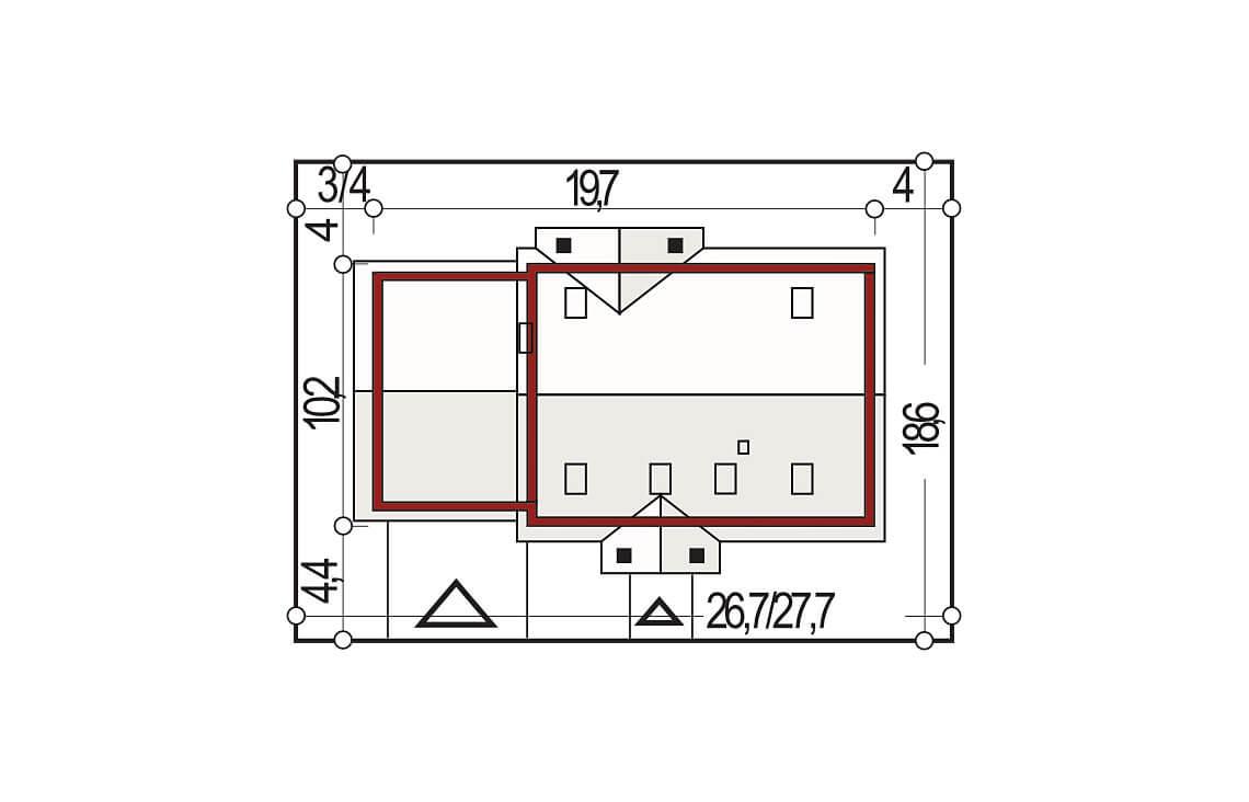 Projekt domu jednorodzinnego Anita B sytuacja