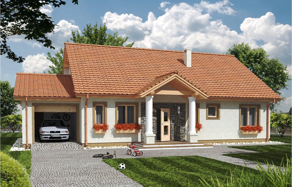 Projekt domu jednorodzinnego Anita Dworek Awidok front