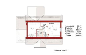 Projekt domu jednorodzinnego Anita Nova A rzut poddasza