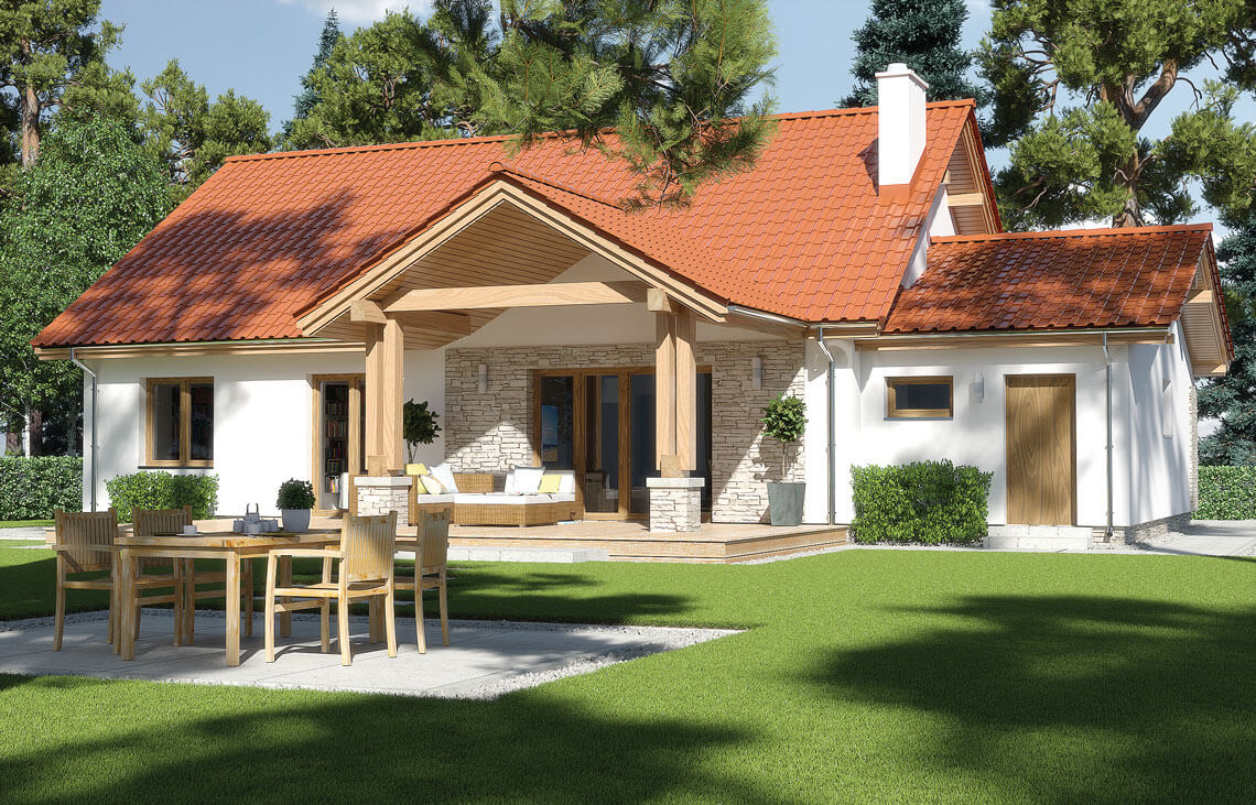 Projekt domu jednorodzinnego Anita Nova A widok ogród