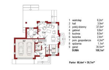 Projekt domu jednorodzinnego Aramis B rzut parteru