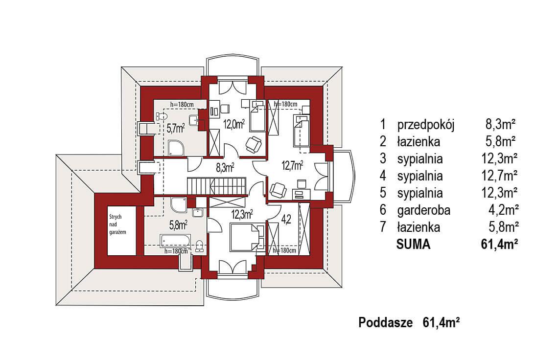 Projekt domu jednorodzinnego Aramis B rzut poddasza