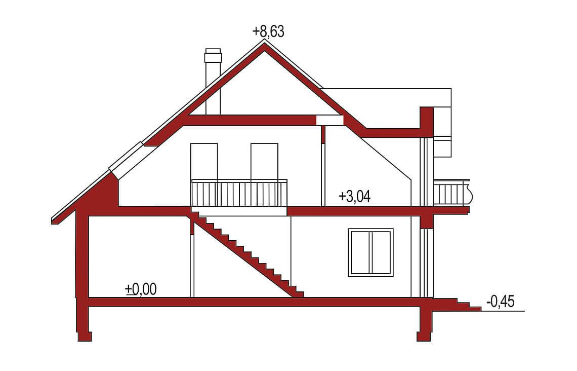Projekt domu jednorodzinnego Aramis A przekrój