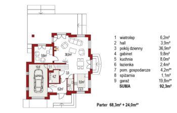 Projekt domu jednorodzinnego Aramis A rzut parteru