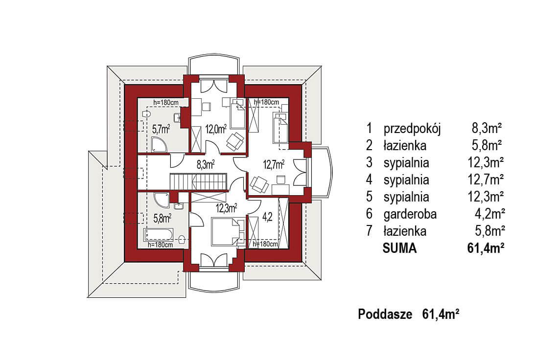 Projekt domu jednorodzinnego Aramis A rzut poddasza