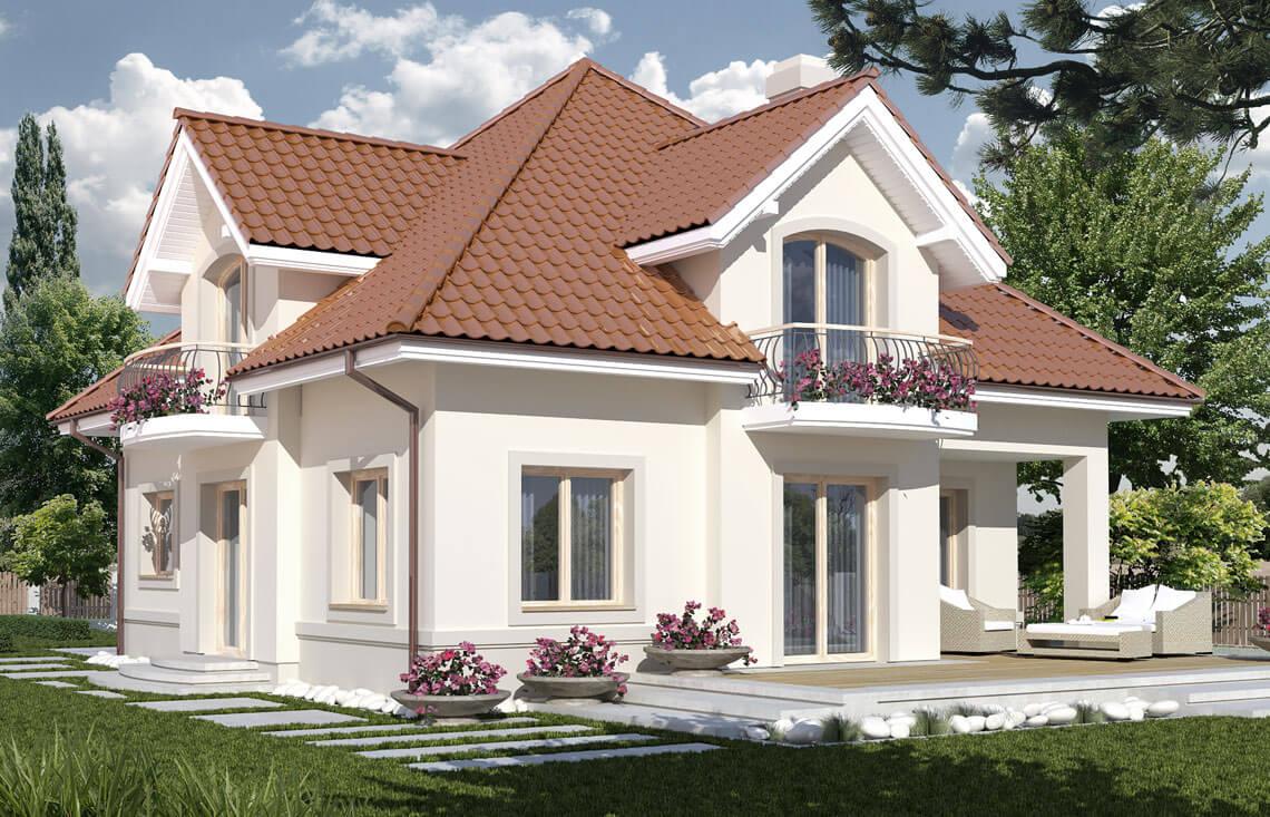 Projekt domu jednorodzinnego Aramis A widok ogród