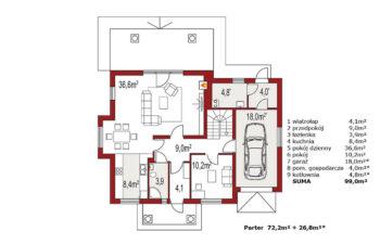 Projekt domu jednorodzinnego Arkan A Dworek rzut parteru