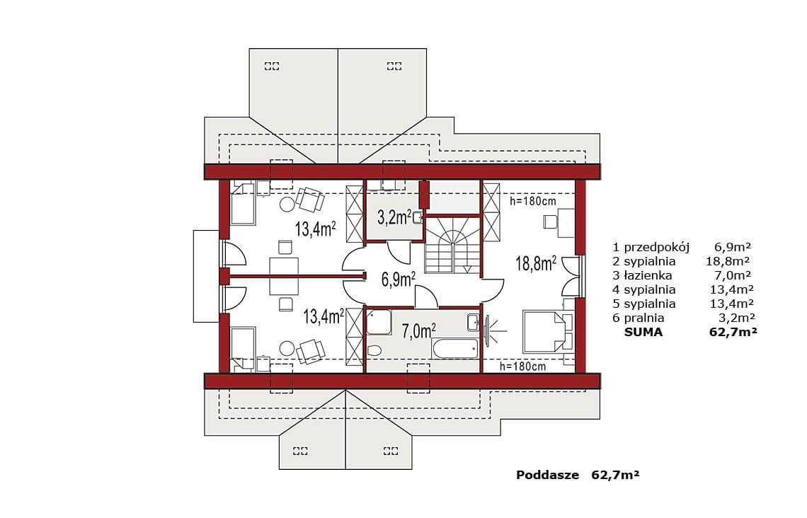 Projekt domu jednorodzinnego Arkan A Dworek rzut poddasza