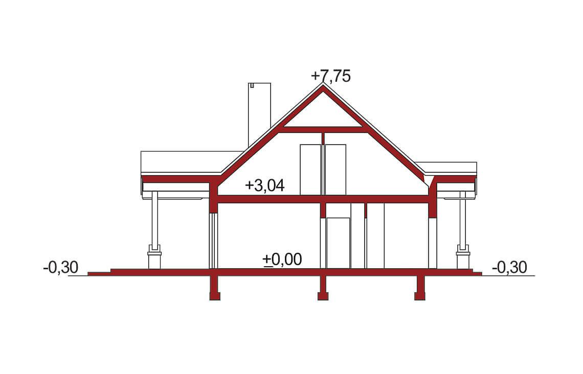 Projekt domu jednorodzinnego Arkan A przekrój