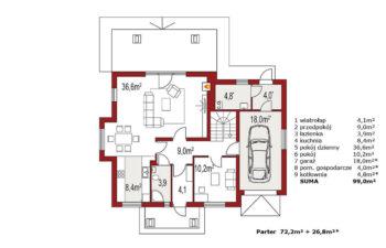 Projekt domu jednorodzinnego Arkan A rzut parteru