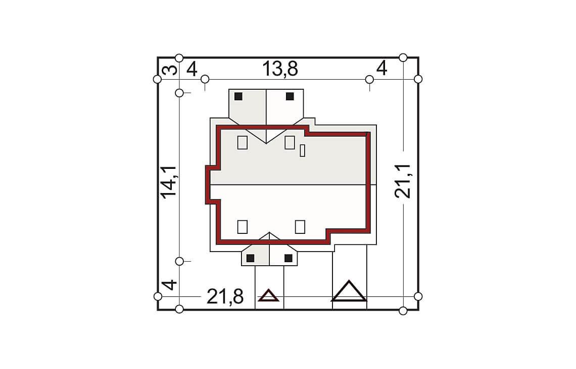Projekt domu jednorodzinnego Arkan A sytuacja