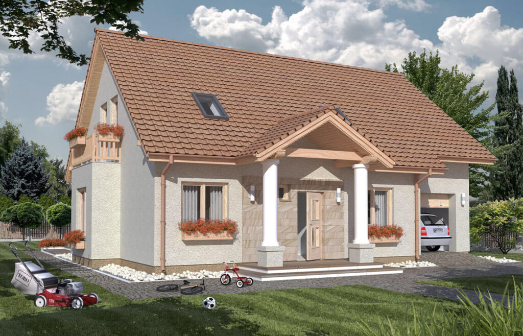 Projekt domu jednorodzinnego Arkan Dworek Awidok front