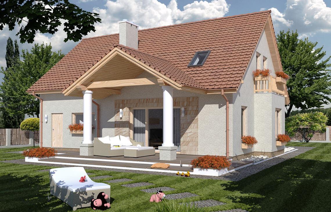 Projekt domu jednorodzinnego Arkan Dworek A widok ogród