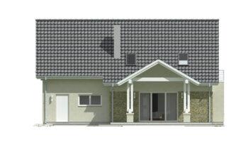 Projekt domu jednorodzinnego Arkan A elewacja ogród
