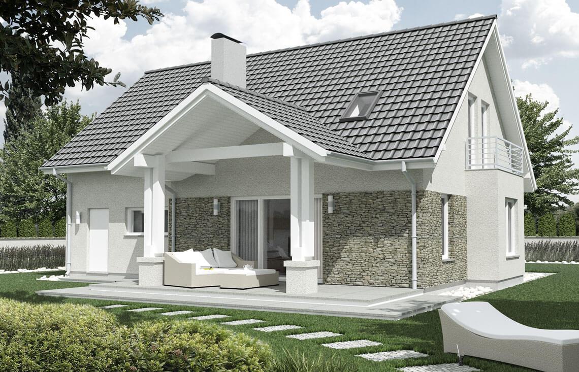 Projekt domu jednorodzinnego Arkan A widok ogród