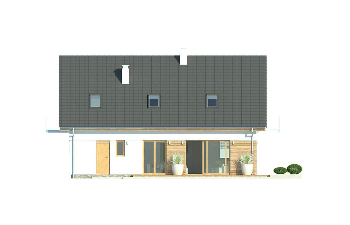 Projekt domu jednorodzinnego Atos A elewacja ogród