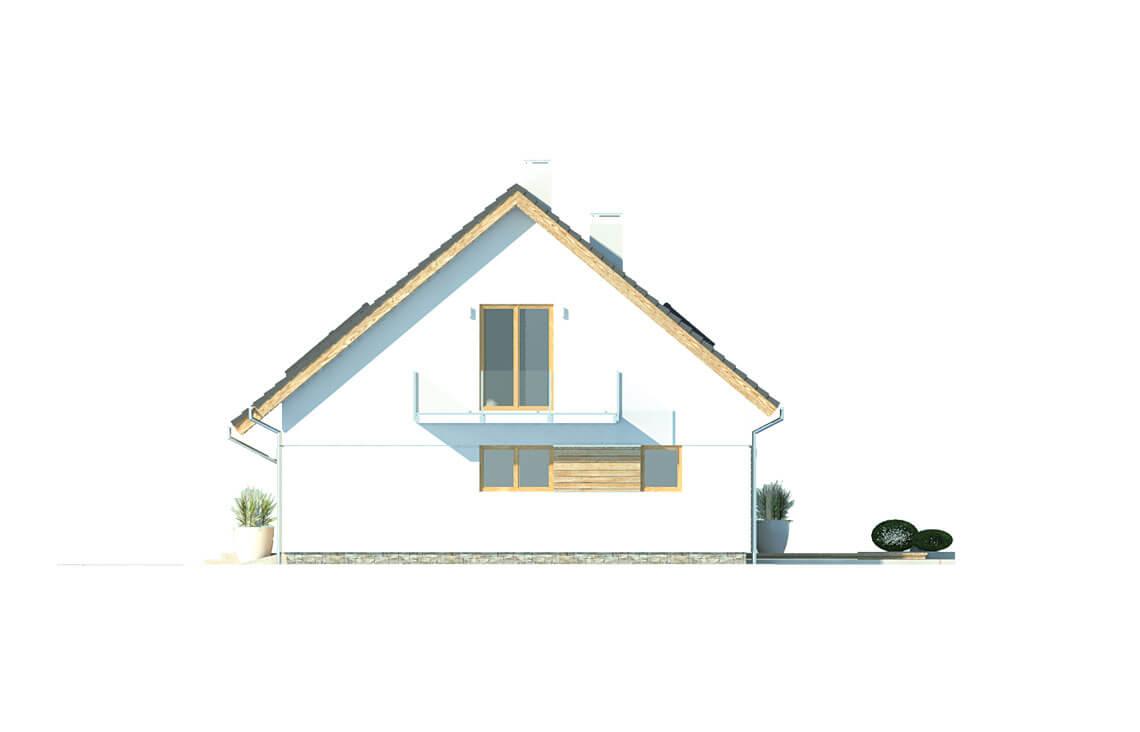 Projekt domu jednorodzinnego Atos A elewacja prawa