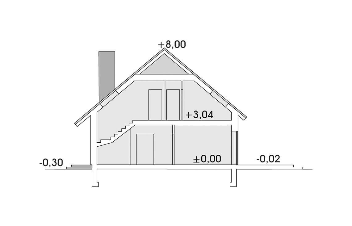 Projekt domu jednorodzinnego Atos A przekrój