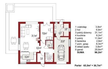 Projekt domu jednorodzinnego Atos A rzut parteru
