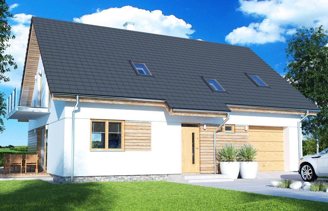 Projekt domu jednorodzinnego Atos A widok front