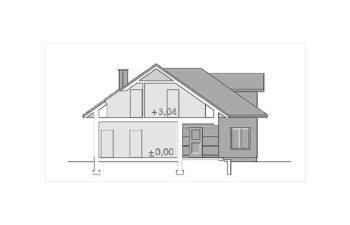 Projekt domu jednorodzinnego Atu A przekrój