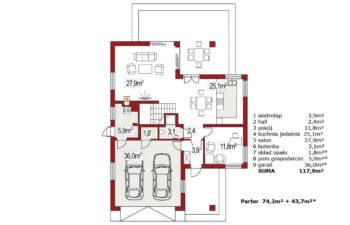 Projekt domu jednorodzinnego Atu A rzut parteru