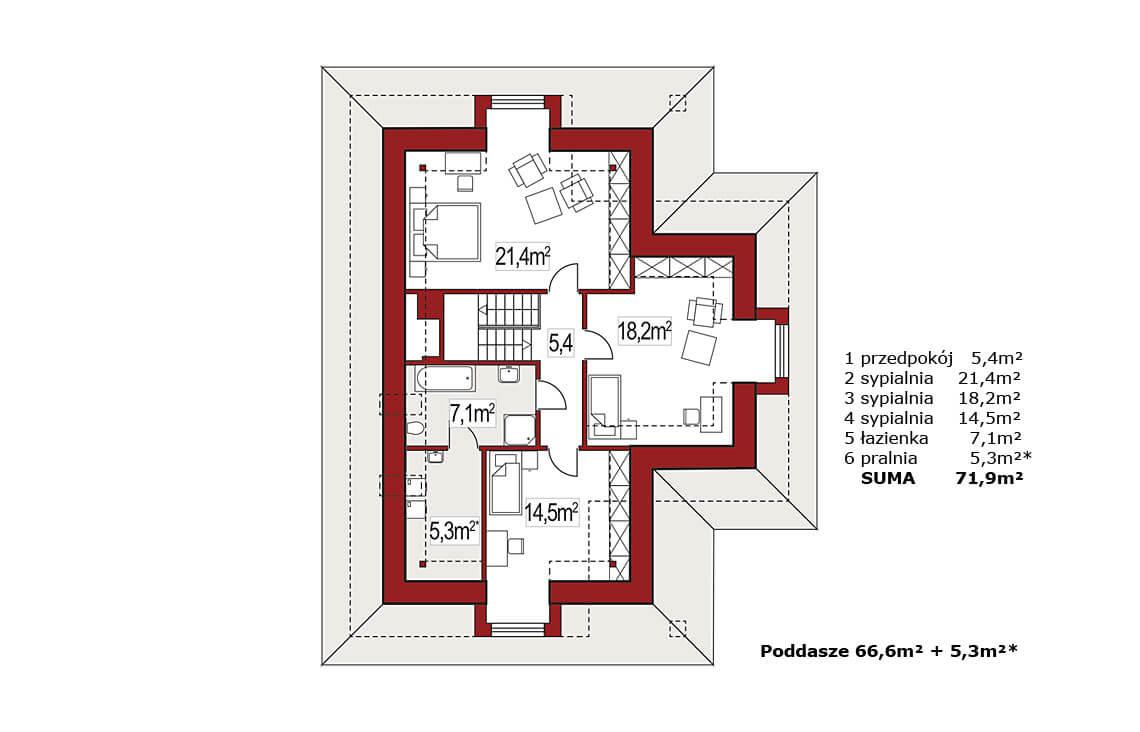 Projekt domu jednorodzinnego Atu A rzut poddasza