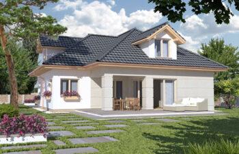 Projekt domu jednorodzinnego Atu A widok ogród