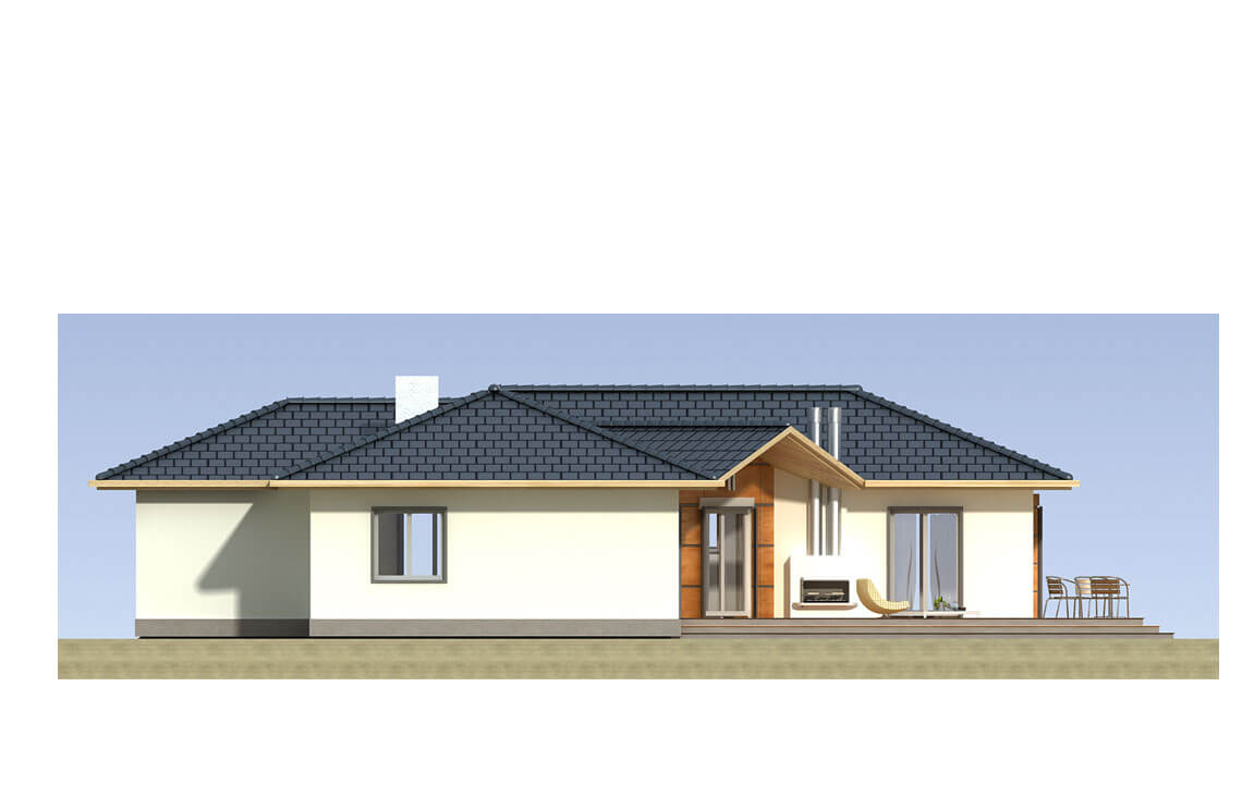 Projekt domu jednorodzinnego Basia 2A elewacja ogród
