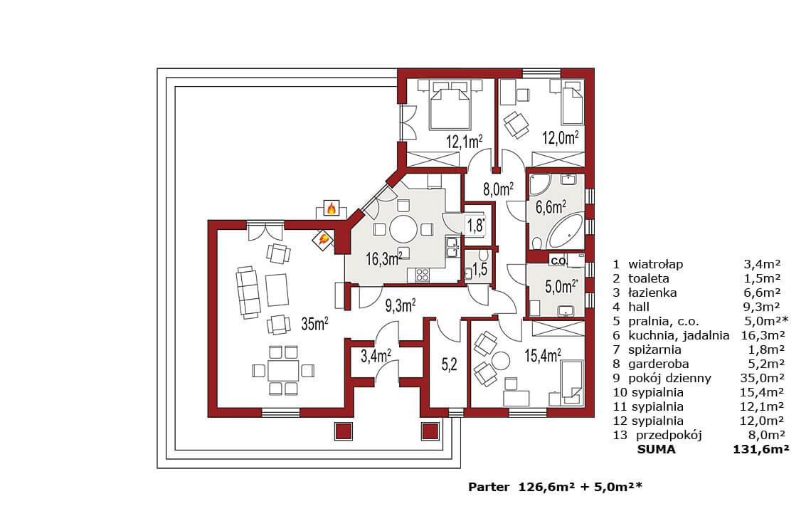 Projekt domu jednorodzinnego Basia 2A rzut