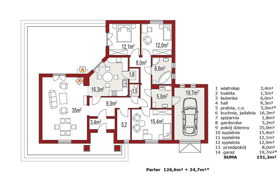 Projekt domu jednorodzinnego Basia 2B rzut