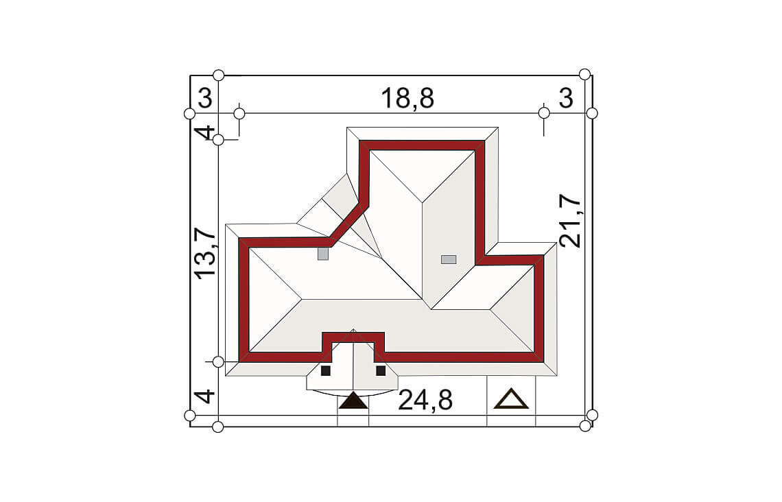 Projekt domu jednorodzinnego Basia 2B sytuacja