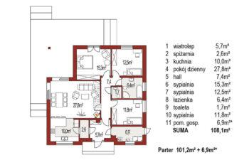 Projekt domu jednorodzinnego Bella A rzut parteru