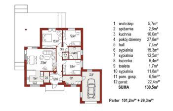 Projekt domu jednorodzinnego Bella B rzut parteru
