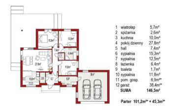 Projekt domu jednorodzinnego Bella C rzut parteru