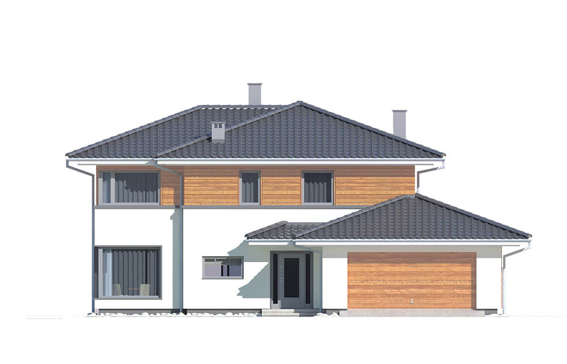 Projekt domu jednorodzinnego Boss A elewacja front