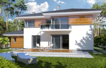 Projekt domu jednorodzinnego Boss A widok ogród