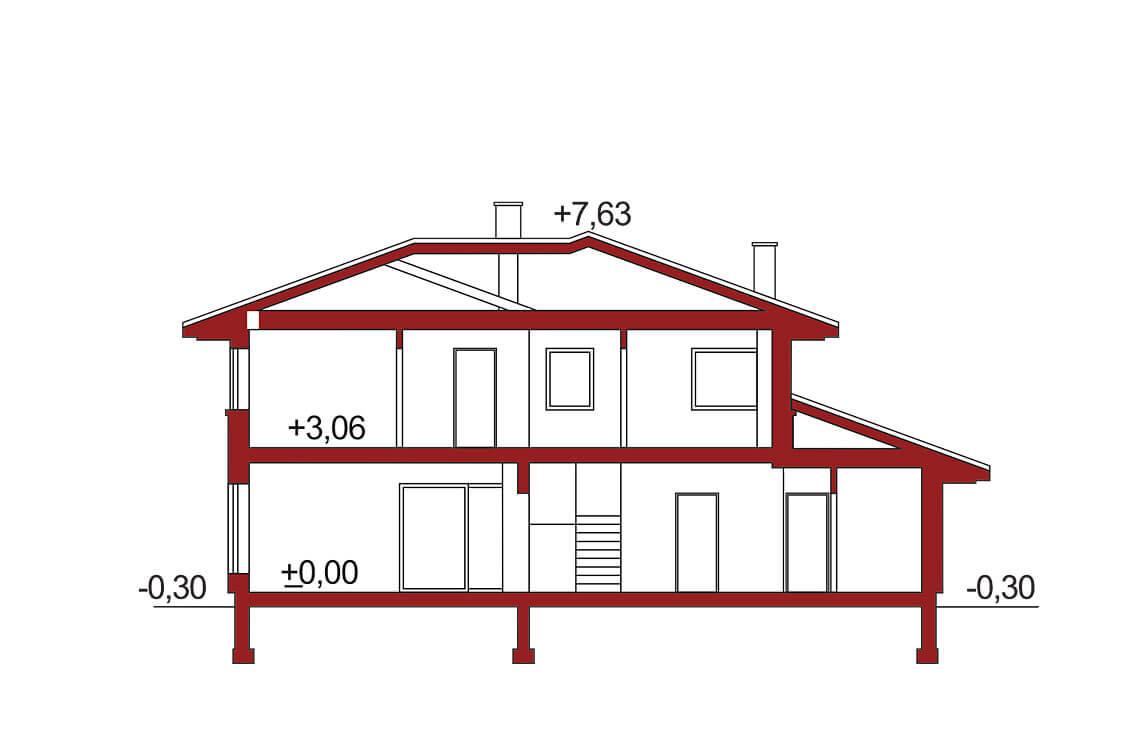 Projekt domu jednorodzinnego Boss A przekrój