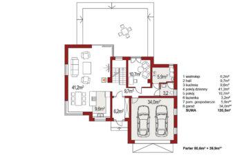 Projekt domu jednorodzinnego Boss A 25 rzut parteru