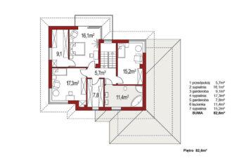 Projekt domu jednorodzinnego Boss A 25 rzut piętra