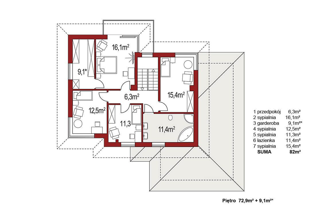 Projekt domu jednorodzinnego Boss B rzut piętra