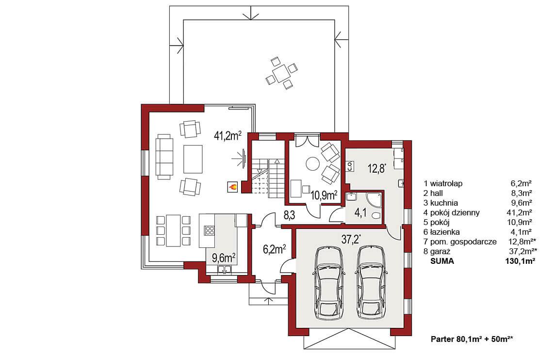 Projekt domu jednorodzinnego Boss B 25 poszerzony rzut parteru