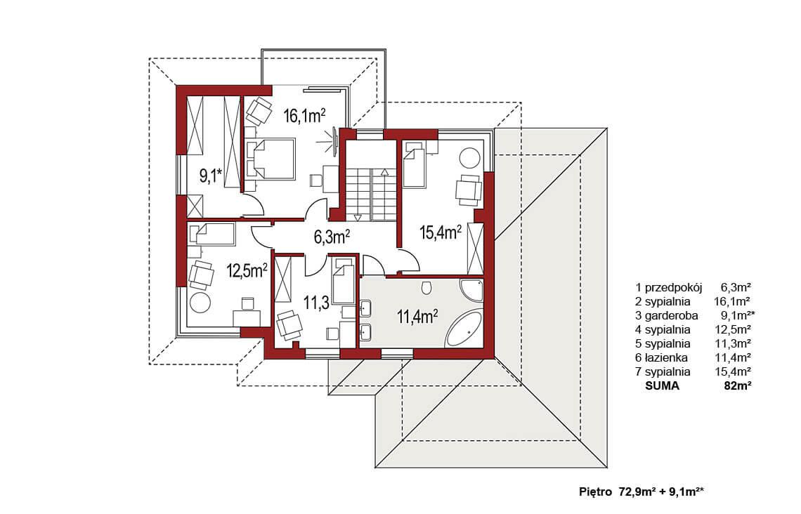 Projekt domu jednorodzinnego Boss B 25 poszerzony rzut piętra