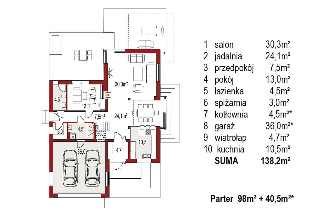 Projekt domu jednorodzinnego Carmen Grande rzut parter