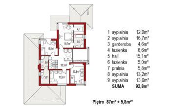 Projekt domu jednorodzinnego Carmen Grande rzut piętra