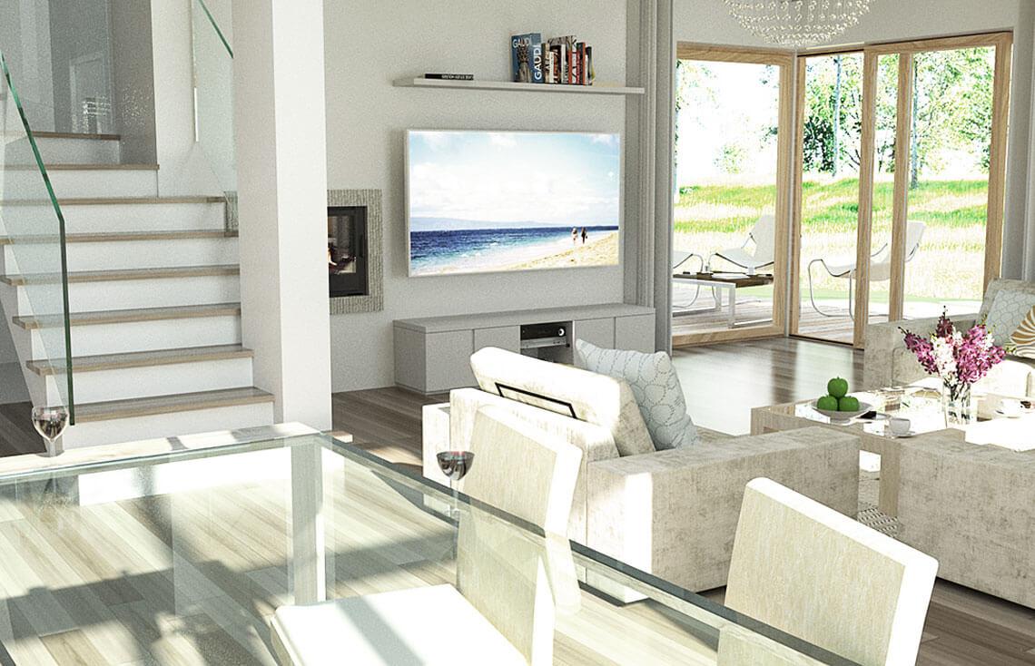 Projekt domu jednorodzinnego Carmen Magdalena C wnętrze salon