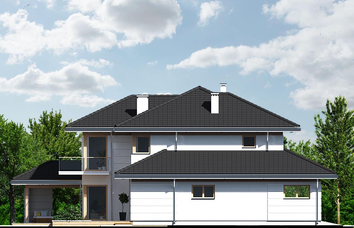 Projekt domu jednorodzinnego Carmen Magdalena C elewacja lewa