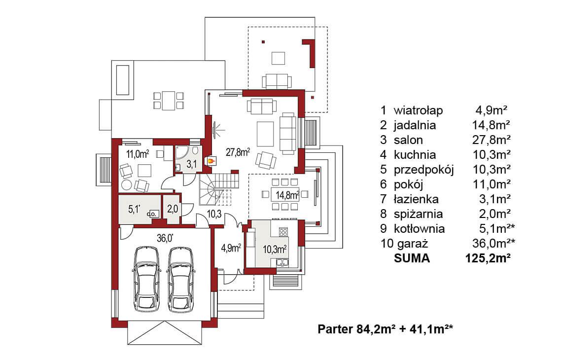 Projekt domu jednorodzinnego Carmen Magdalena A rzut parteru