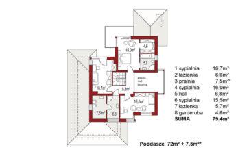 Projekt domu jednorodzinnego Carmen Magdalena A rzut poddasza