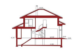 Projekt domu jednorodzinnego Carmen Magdalena A z piwnicą przekrój